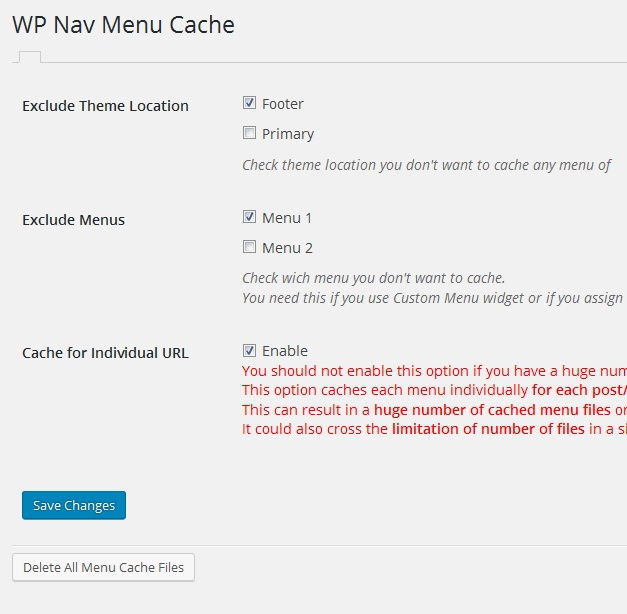 wp nav menu cache settings